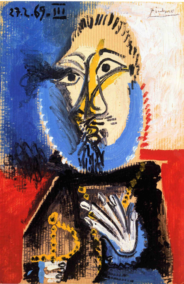Pablo Picasso, «Κεφαλή βασιλιά ή Τυφεκιοφόρος με σπαθί», 1969, λάδι σε χαρτόνι, 98x65,5 εκ., Musée Zervos, Vézelay. © Succesion Picasso 2019.