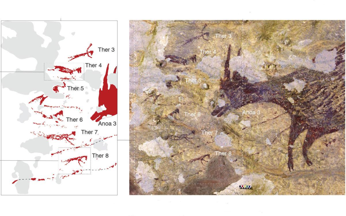 Λεπτομέρεια της σκηνής κυνηγίου που απεικονίζει έξι μικροσκοπικούς θηριανθρώπους (Ther 3-8) να αντιμετωπίζουν ένα ζώο με δόρατα ή σχοινιά. Φωτ.: A. Brumm.