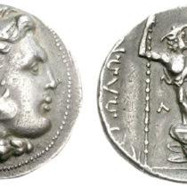 Αργυρό τετράδραχμο της Αιτωλικής Συμπολιτείας, που έκοψαν οι Αιτωλοί μετά τη νίκη τους κατά των Γαλατών το 279 π.Χ. Στον εμπροσθότυπο κεφαλή του Ηρακλή με λεοντή και στον οπισθότυπο γυναικεία οπλισμένη μορφή, η προσωποποίηση της Αιτωλίας, καθισμένη σε σωρό γαλατικών και μακεδονικών ασπίδων (239–229 π.Χ.).