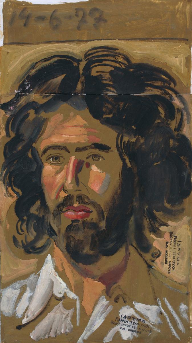 Γιάννης Τσαρούχης, «Σπουδή για πορτρέτο του Γιώργου Ορφανού», 1977. Αυγοτέμπερα σε χαρτί, 42,6x23,9 εκ. Ίδρυμα Γιάννη Τσαρούχη, αρ. ευρ. 2756.