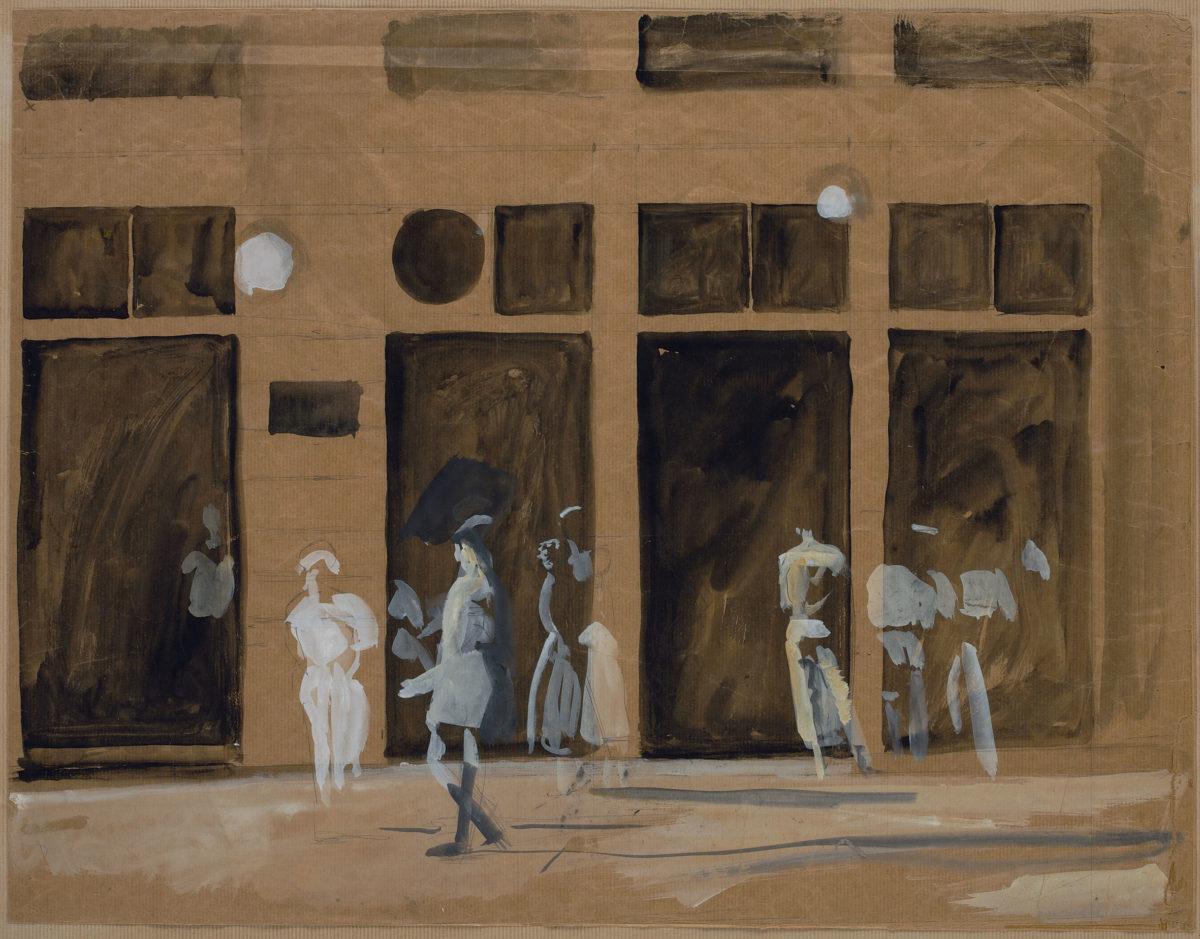 Γιάννης Τσαρούχης, «Καφενείο Μαυροκέφαλου», 1966. Νερομπογιά σε χαρτί kraft, 49,5x64 εκ. Ίδρυμα Γιάννη Τσαρούχη, αρ. ευρ. 1026.