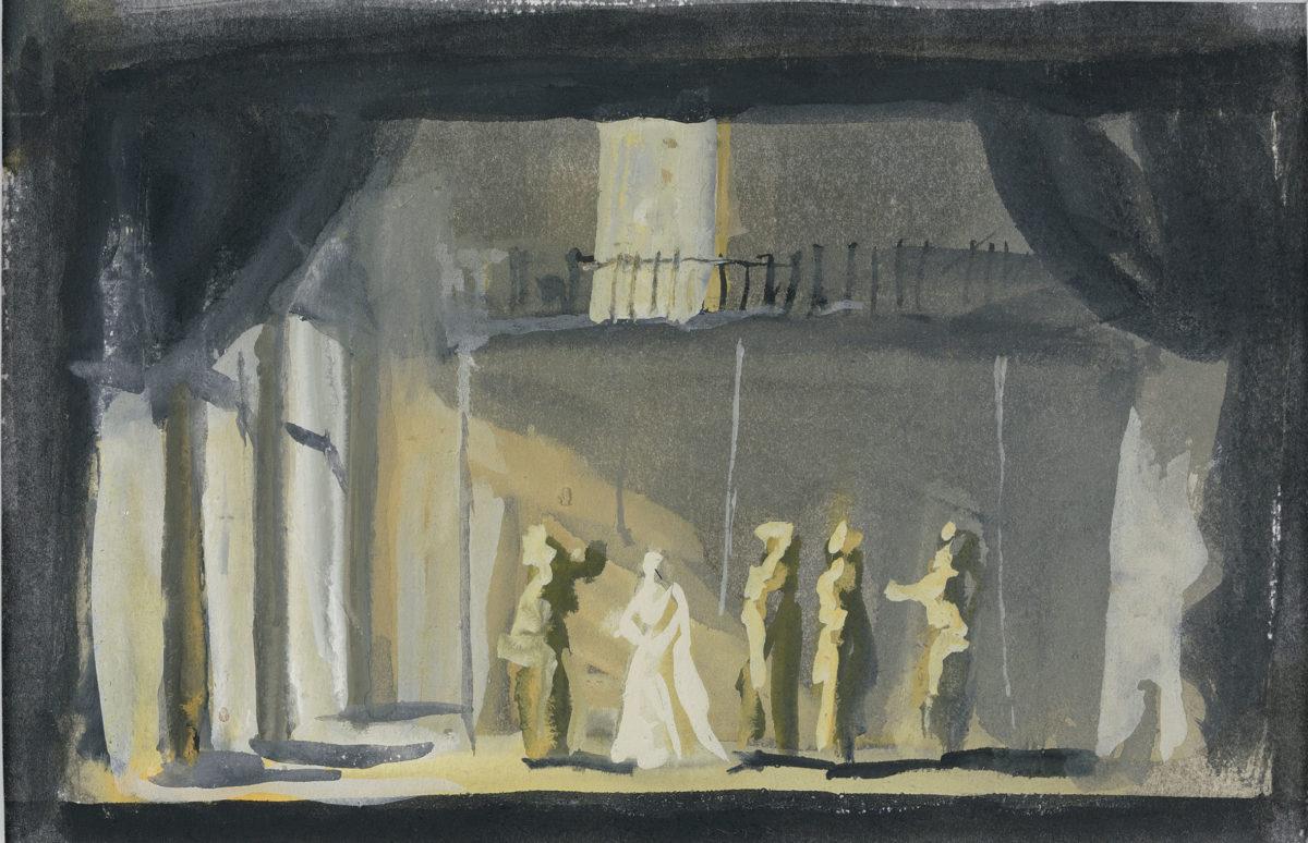 Γιάννης Τσαρούχης, «Οθέλλος 4», 1961. Ακουαρέλλα σε χαρτί, 12,5x19,5  εκ. Ίδρυμα Γιάννη Τσαρούχη, αρ. ευρ. 1551.