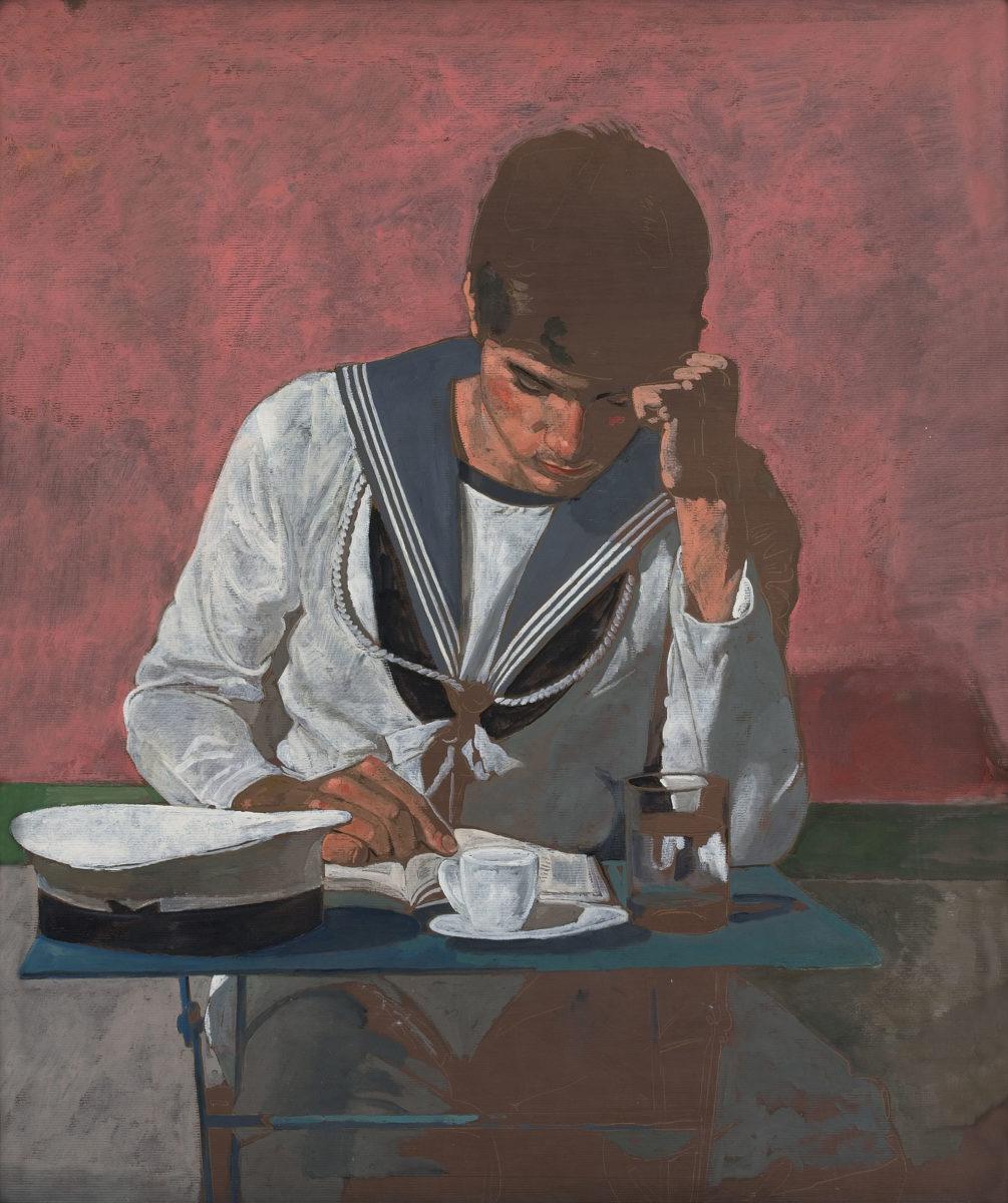 Γιάννης Τσαρούχης, «Ο Ναύτης που διαβάζει», 1981. Λάδι σε χαρτί kraft, 93x80 εκ. Ίδρυμα Γιάννη Τσαρούχη, αρ. ευρ. 1596.