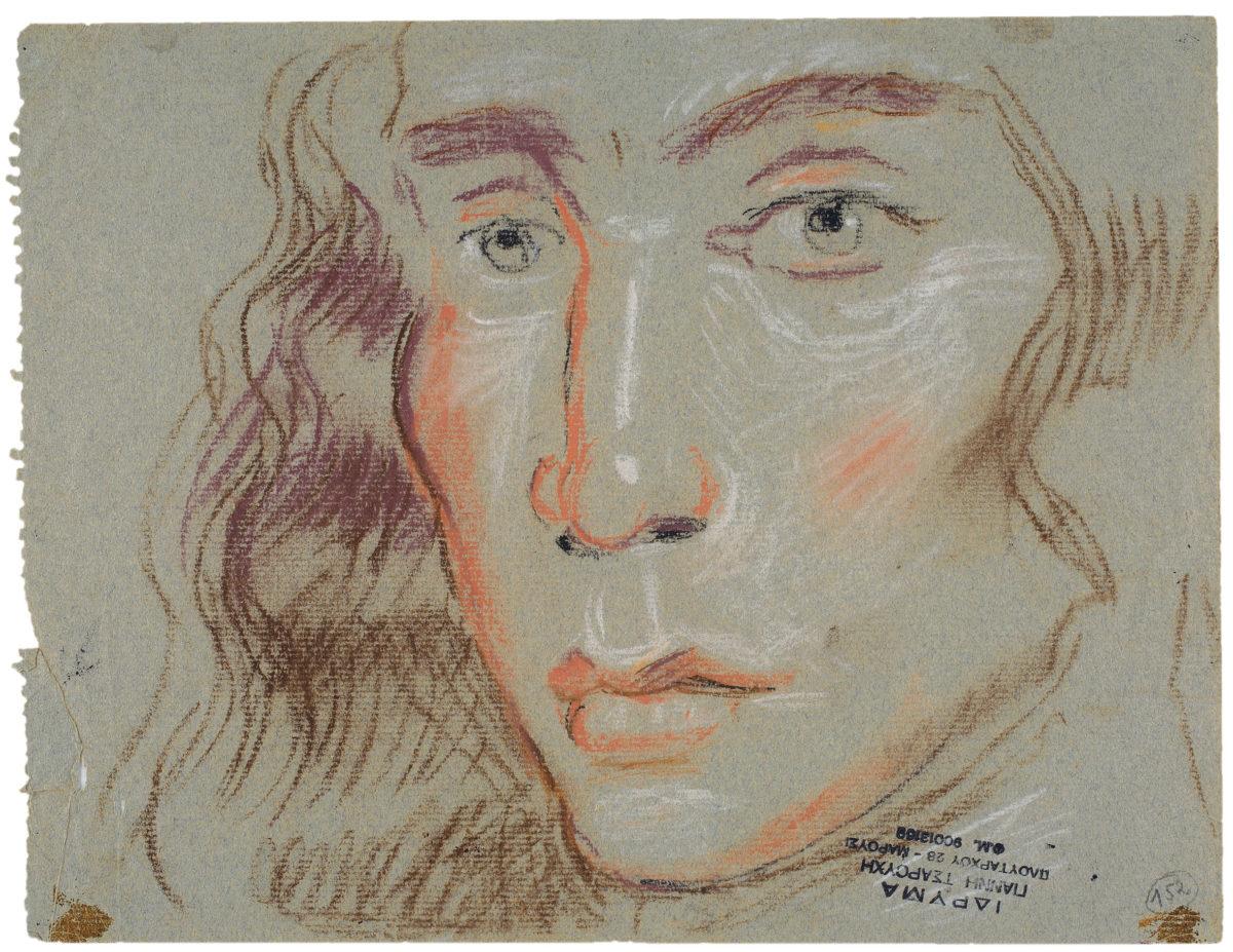 Γιάννης Τσαρούχης, «Κεφάλι νέου», 1970. Παστέλ σε χαρτί, 23,5x30,5 εκ. Ίδρυμα Γιάννη Τσαρούχη, αρ. ευρ. 2749.