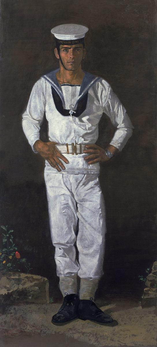 Γιάννης Τσαρούχης, «Ναύτης στον ήλιο», 1968-1970. Λάδι σε πανί, 223,5x104 εκ. Ίδρυμα Γιάννη Τσαρούχη, αρ. ευρ. 591.