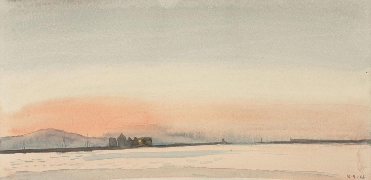 Γιάννης Τσαρούχης, «Το λιμάνι της Χίου πριν από την ανατολή», 1965. Ακουαρέλλα σε χαρτί, 15,5x31 εκ. Ίδρυμα Γιάννη Τσαρούχη, αρ. ευρ. 63.