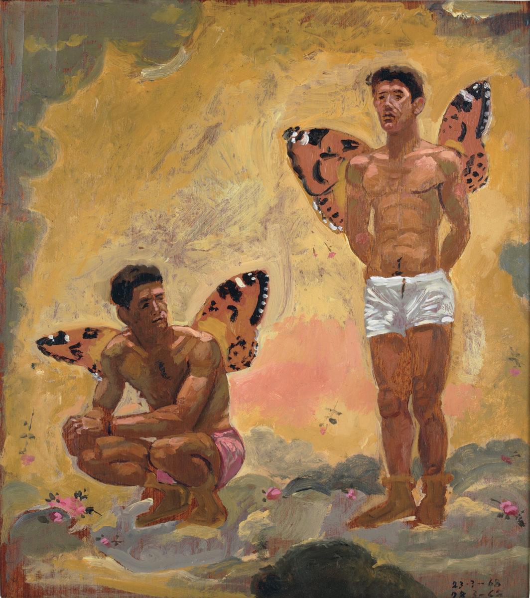 Γιάννης Τσαρούχης, «Δύο άνδρες με φτερά πεταλούδας», 1968. Λάδι σε καπλαμά, 44,5x39,4 εκ. Ίδρυμα Γιάννη Τσαρούχη, αρ. ευρ. 631.