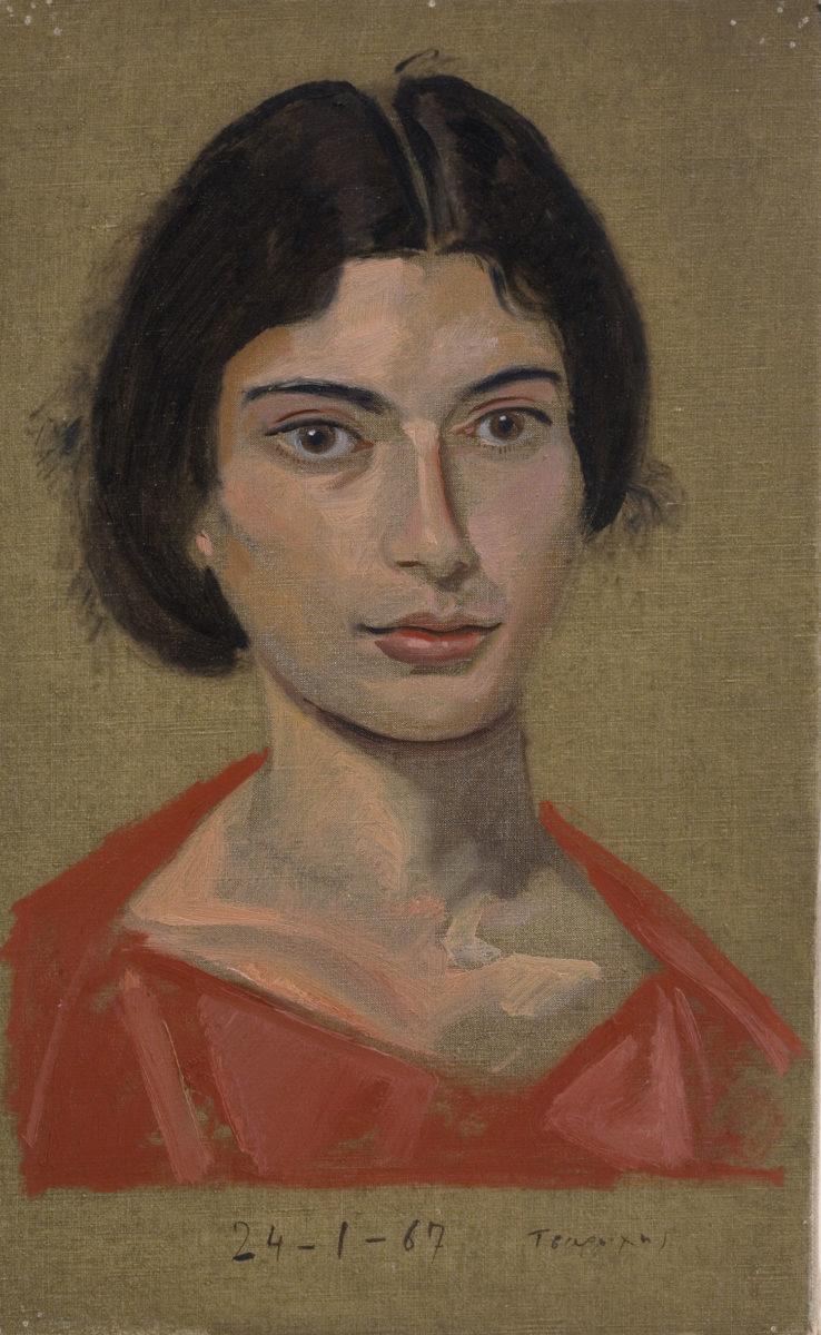 Γιάννης Τσαρούχης, «Πρώτο πορτραίτο της Δέσποινας, 18 χρονών», 1967. Λάδι σε πανί, 56,0x39 εκ. Ίδρυμα Γιάννη Τσαρούχη, αρ. ευρ. 689.