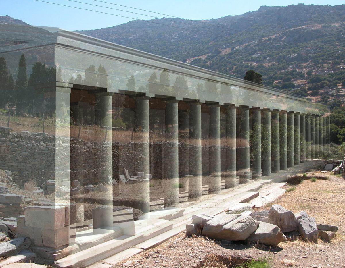 Φωτορεαλιστική αναπαράσταση της Βόρειας Στοάς της Αγοράς της Άνδρου (2ος αι. π.Χ.).