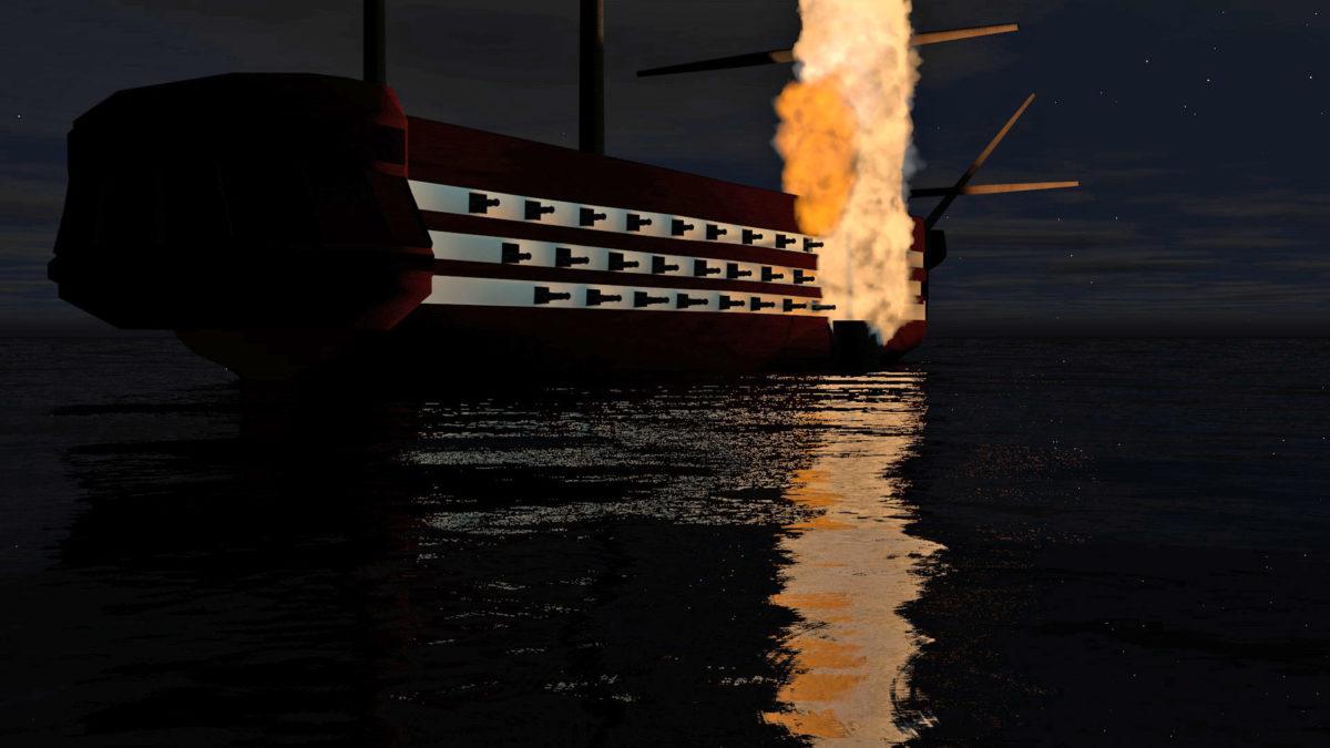 Εικονική πυρπόληση πλοίου (φωτ.: ΑΠΕ-ΜΠΕ / Εργαστήριο Πολυμέσων και Κοινωνικών Δικτύων).