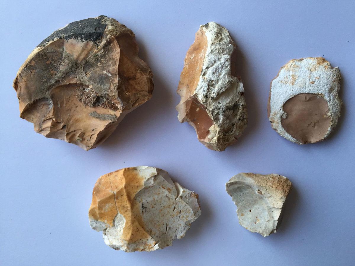 Λίθινα εργαλεία που ήρθαν στο φως στη διάρκεια της ανασκαφής στον Κυθρό.