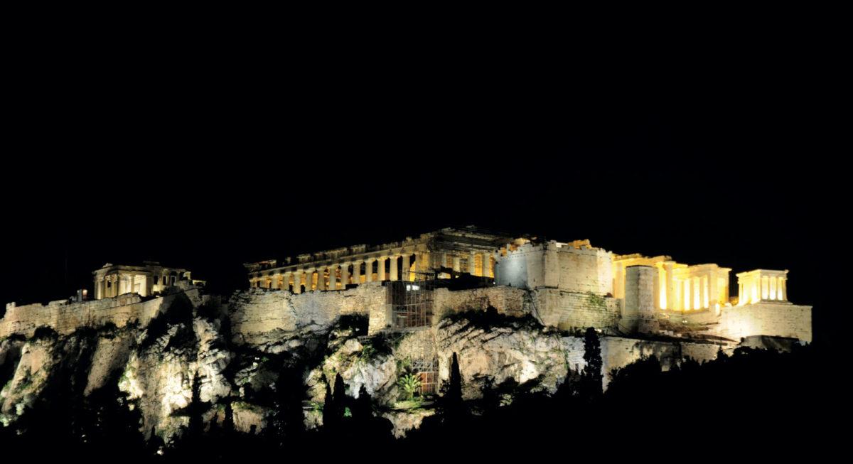 Φωτισμός των μνημείων της Ακρόπολης: υφιστάμενη κατάσταση (φωτ.: ΥΠΠΟΑ).