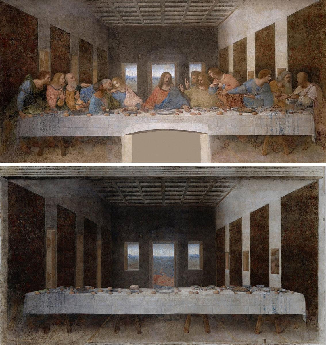 «Ο Μυστικός Δείπνος» του Λεονάρντο ντα Βίντσι (1498) και το αντίστοιχο έργο του Χοσέ Μανουέλ Μπαγεστέρ (κάτω).