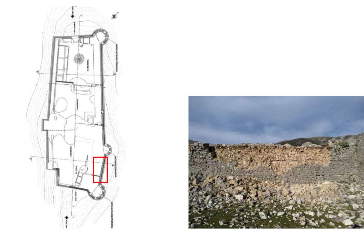 Κατάρρευση στο τείχος του κάστρου (φωτ.: ΥΠΠΟΑ).