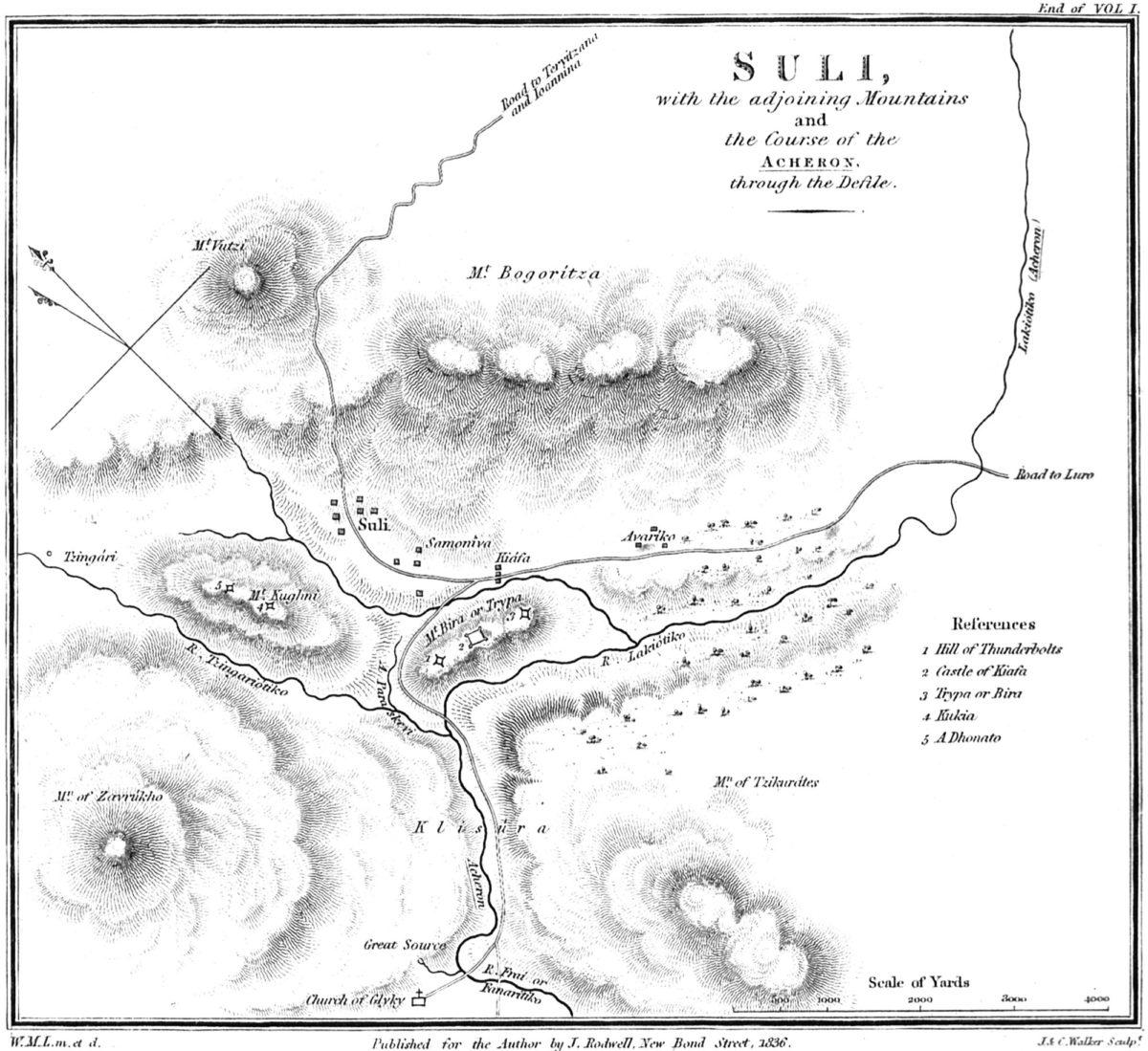Χάρτης του Σουλίου, του William Martin Leake (1835) (φωτ.: ΥΠΠΟΑ).