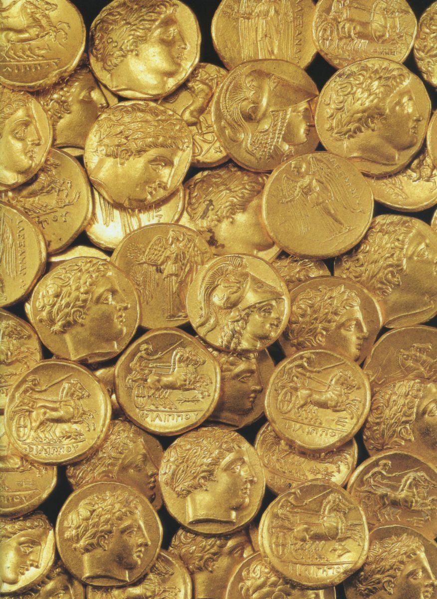 Θησαυρός Κορίνθου (Πελοπόννησος), 1930 (IGCH 77). Απόκρυψη θησαυρού: τελευταίο τέταρτο 4ου αι. π.Χ. Περιέχει χρυσούς στατήρες Φιλίππου Β' και Αλεξάνδρου Γ΄. Νομισματικό Μουσείο Αθηνών. Φωτ.: Μ. Σκιαδαρέσης.