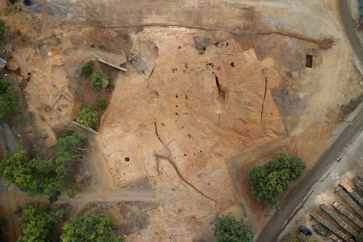 Αεροφωτογραφία της ανασκαφής στη θέση «Σκουριές» (φωτ. ΑΠΕ-ΜΠΕ).