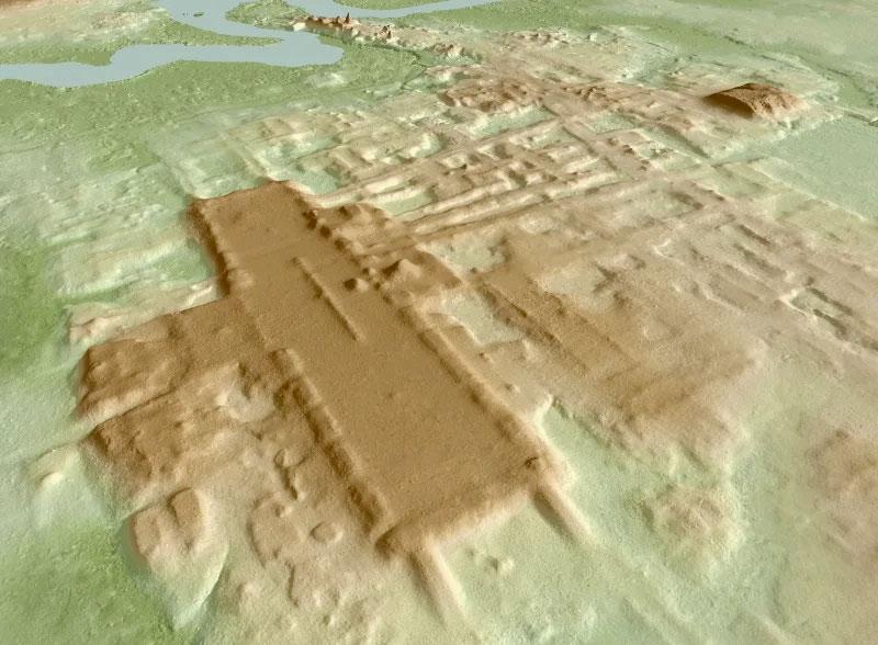 Η ανακάλυψη έγινε με τη χρήση της τεχνολογίας LIDAR, που χρησιμοποιεί εκπομπή λέιζερ από ενάεριο μέσο για να δημιουργήσει τρισδιάστατους τοπογραφικούς χάρτες της επιφάνειας του εδάφους και να αποκαλύψει ό,τι κρύβεται κάτω από τη βλάστηση (φωτ.: Takeshi Inomata).