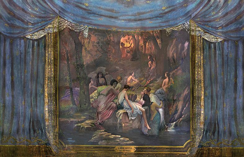 Η ζωγραφισμένη αυλαία του Δημοτικού Θεάτρου Πειραιά.