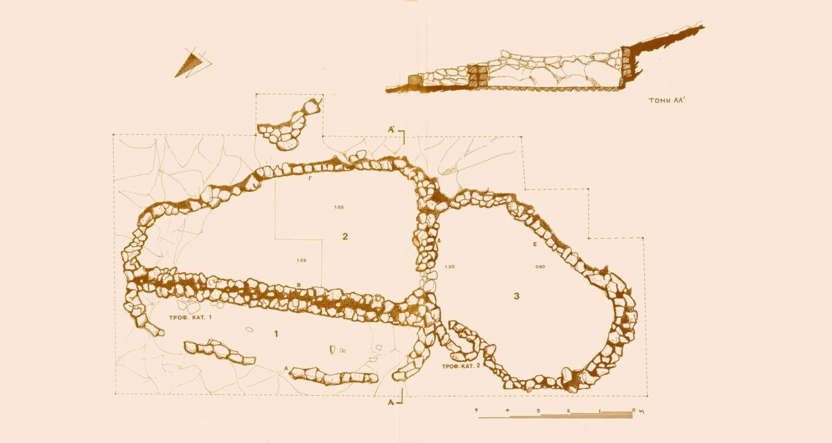 Κάτοψη του νεολιθικού κτηρίου στη νησίδα Γυαλί, όπως έχει δημοσιευθεί (πηγή εικόνας: Σύλλογος Ελλήνων Αρχαιολόγων).