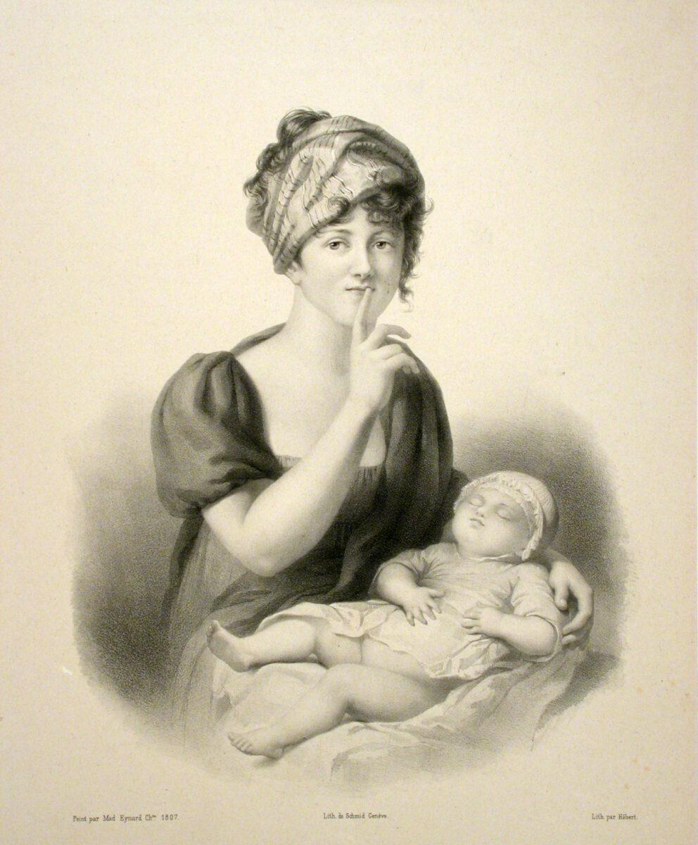 Hébert, «μητέρα με βρέφος», ασπρόμαυρη λιθογραφία (φωτ.: ΑΠΕ-ΜΠΕ).