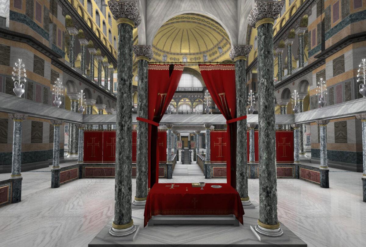 Στιγμιότυπο από τη διαδραστική ψηφιακή παραγωγή εικονικής πραγματικότητας «Αγία Σοφία: 1500 χρόνια ιστορίας» του Ιδρύματος Μείζονος Ελληνισμού.