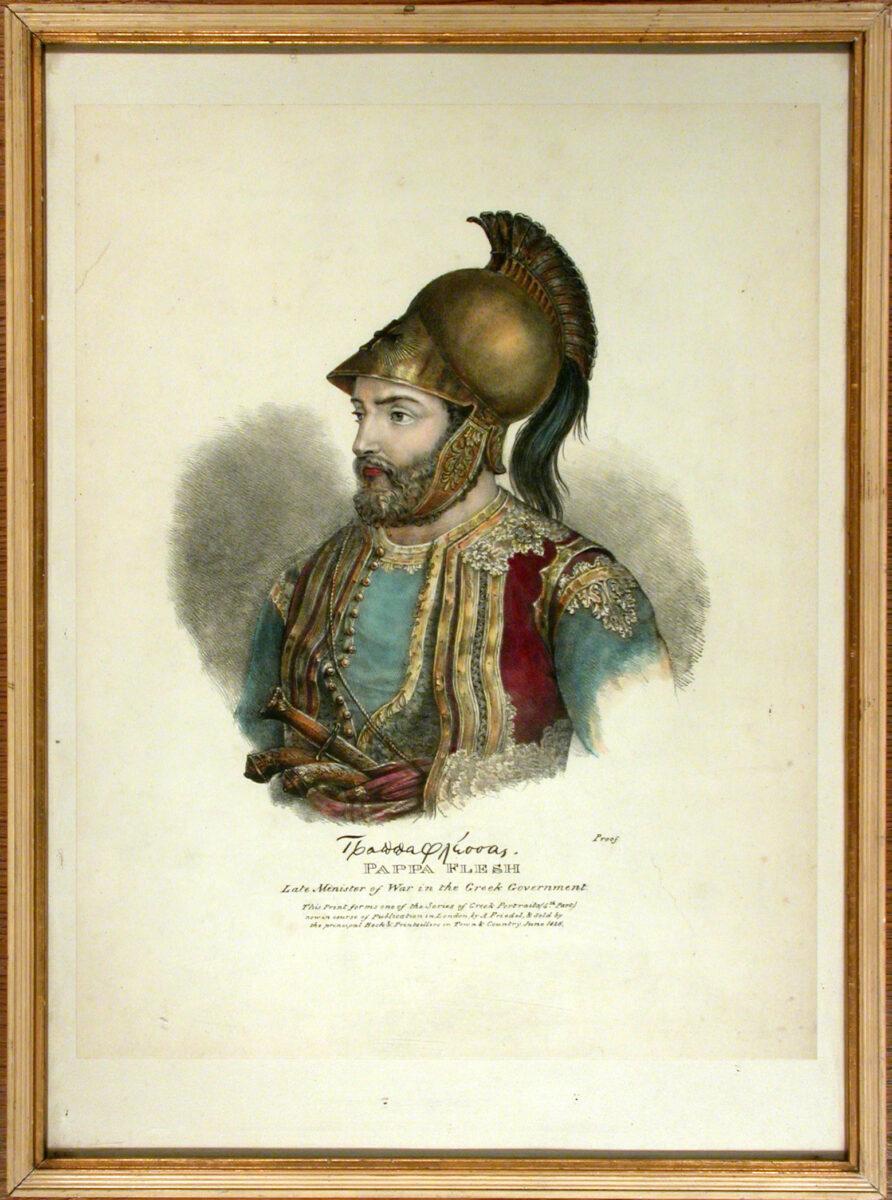 Προσωπογραφία του Παπαφλέσσα, με υπογραφή του αγωνιστή. Λιθογραφία αγνώστου, Λονδίνο 1826 (φωτ.: ΑΠΕ-ΜΠΕ).