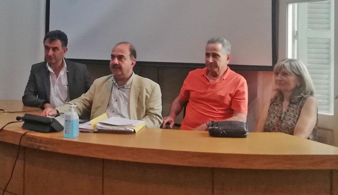 Στιγμιότυπο από τη συνέντευξη Τύπου των μελών της Επιτροπής Πρωτοβουλίας για την ανακήρυξη των «Απολυμαντηρίων» Καλαμαριάς ως Τόπου Ιστορικής Μνήμης (φωτ.: ΑΠΕ-ΜΠΕ).