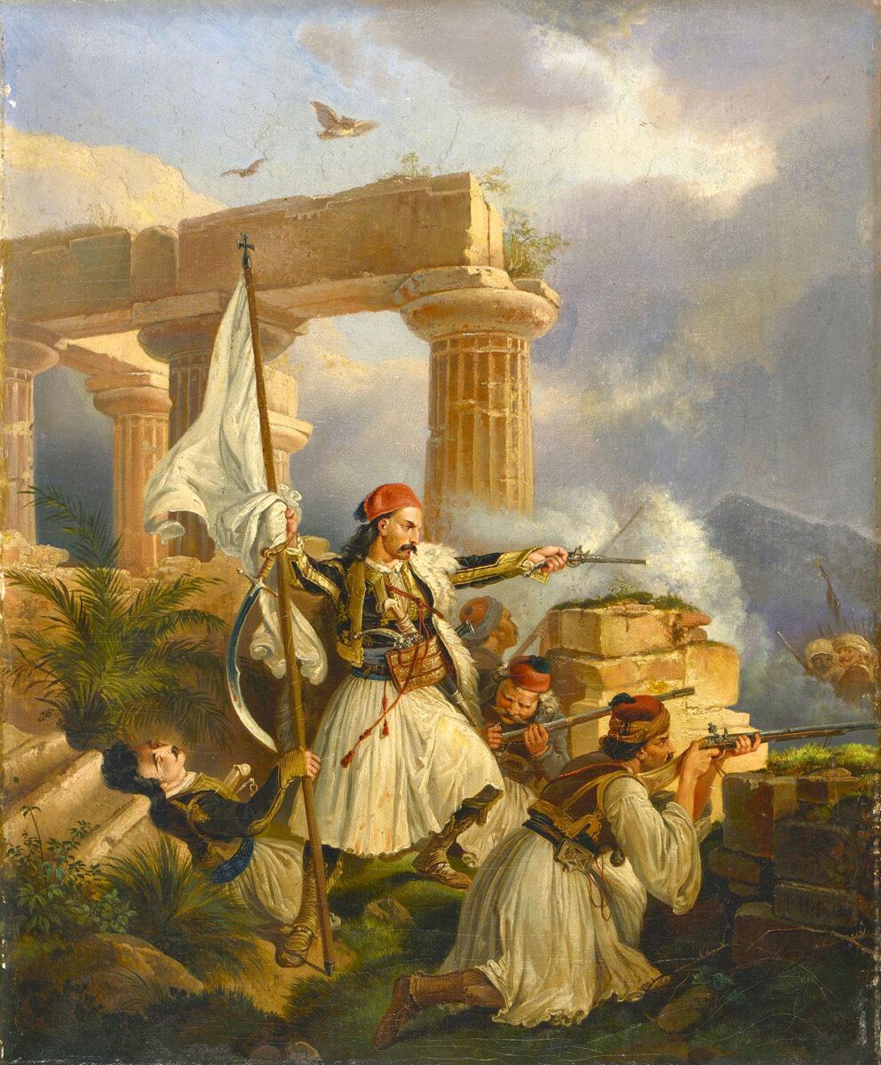 Peter von Hess (1792-1871), «Έλληνες μάχονται ανάμεσα σε αρχαία ερείπια», 1829. Ελαιογραφία σε μουσαμά, 33x27 εκ. Συλλογή Θανάση και Μαρίνας Μαρτίνου.