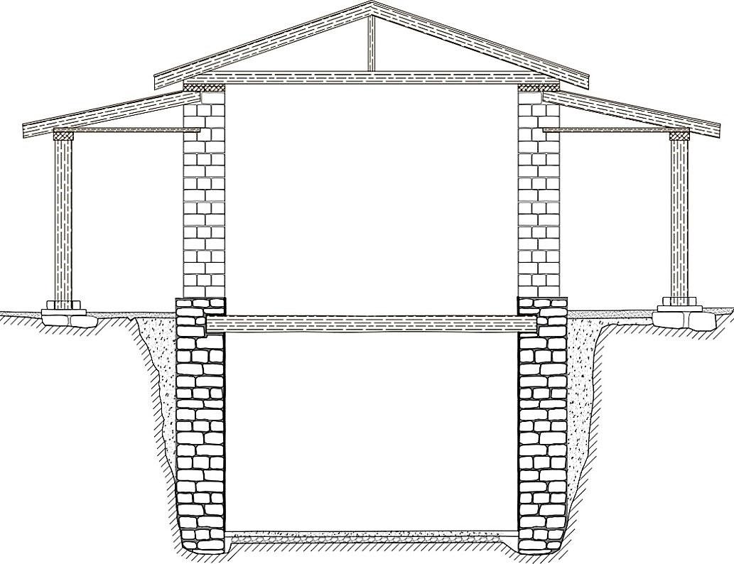Γραφική αποκατάσταση του κτηρίου (τομή Β-Ν). Φωτ.: ΥΠΠΟΑ.