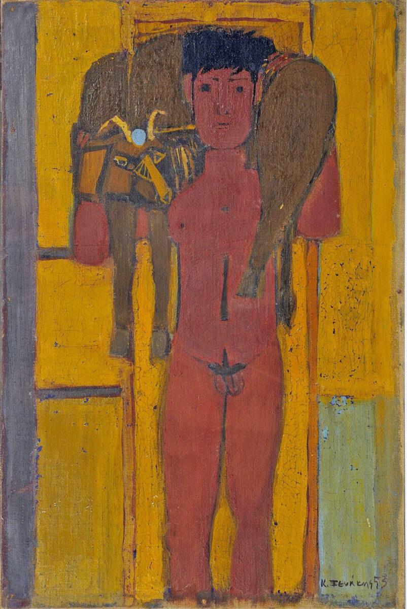 Έργο του Κοσμά Ξενάκη από την έκθεση «Χασάπηδες και Κριοφόροι» που παρουσιάζεται στο Πολιτιστικό Κέντρο Θεσσαλονίκης του ΜΙΕΤ.