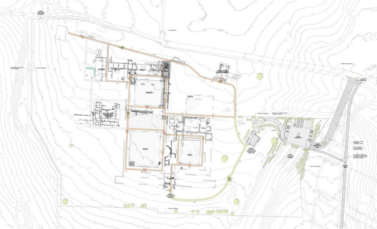Η κάτοψη του κτιρίου 1, της μνημειακής εισόδου και της ανατολικής στοάς του προπύλου, στο πλαίσιο της πρότασης ανάδειξης του ανακτόρου (φωτ.: Εφορεία Αρχαιοτήτων Πέλλας).