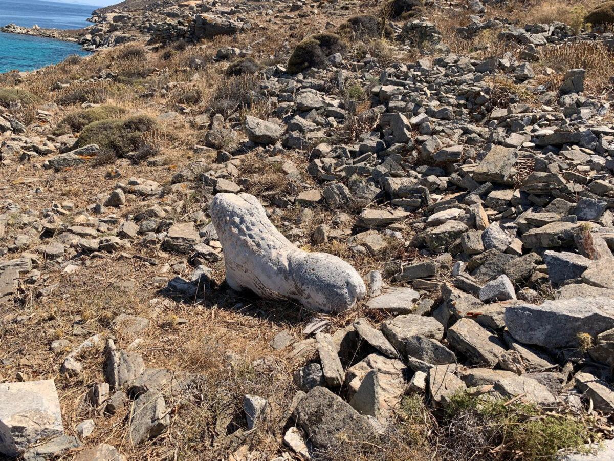 Ταφικός λέων ανάμεσα στα ερείπια κατασκευών της δηλιακής νεκρόπολης στη Ρήνεια (φωτ.: ΥΠΠΟΑ).