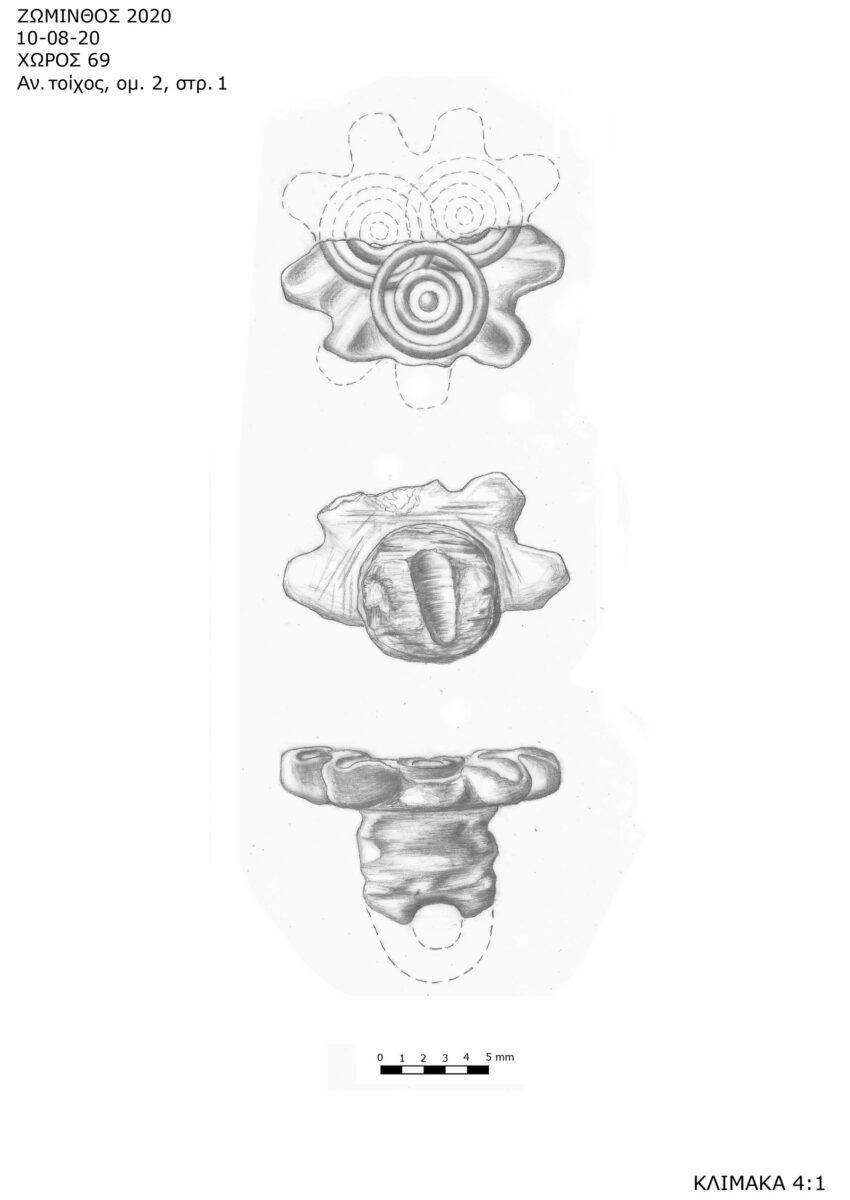Σχέδιο της σφραγίδας σε σχήμα άνθους, που αποκαλύφθηκε στη Ζώμινθο (φωτ.: ΥΠΠΟΑ).