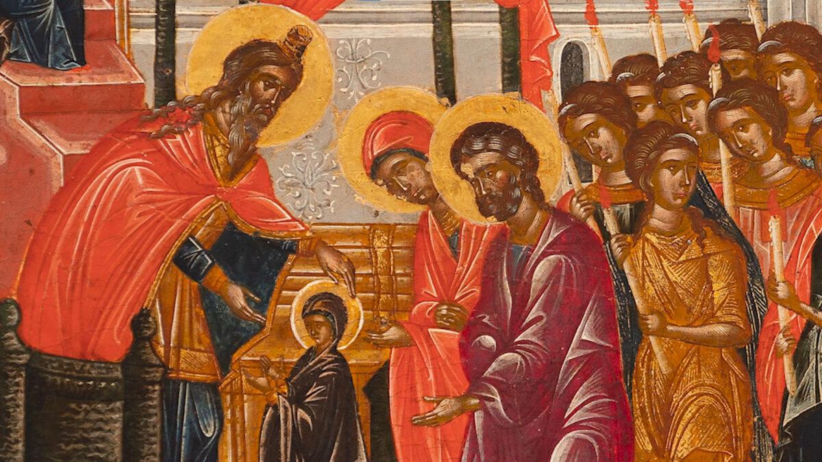 Φωτογραφικό στιγμιότυπο από το πρώτο βίντεο που θα αναρτηθεί με τίτλο «Τα Εισόδια της Θεοτόκου» (© Βυζαντινό και Χριστιανικό Μουσείο).