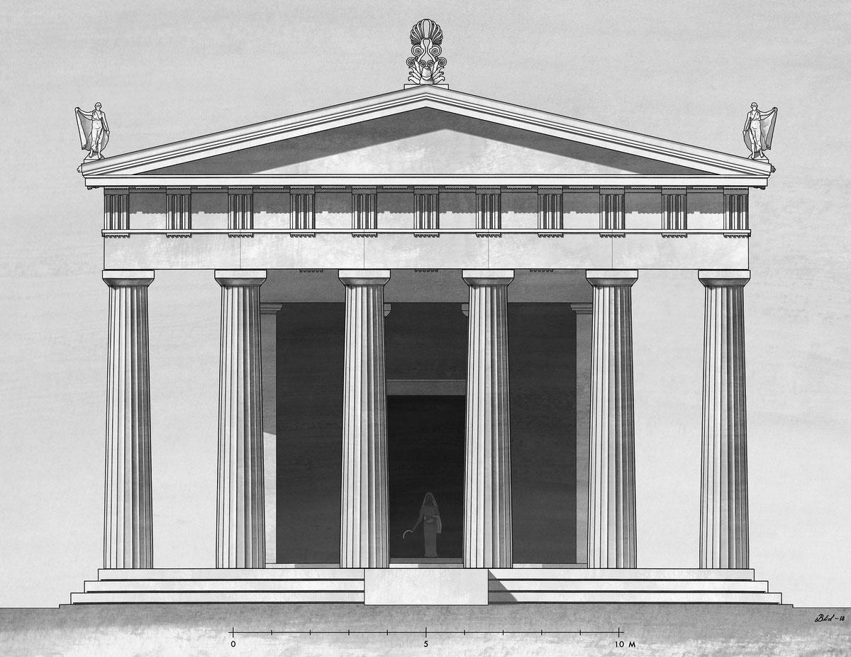 Αναπαράσταση του υστεροκλασικού ναού της Δήμητρας Χθονίας από τον αρχιτέκτονα Jesper Blid. Φωτ.: ΥΠΠΟΑ.