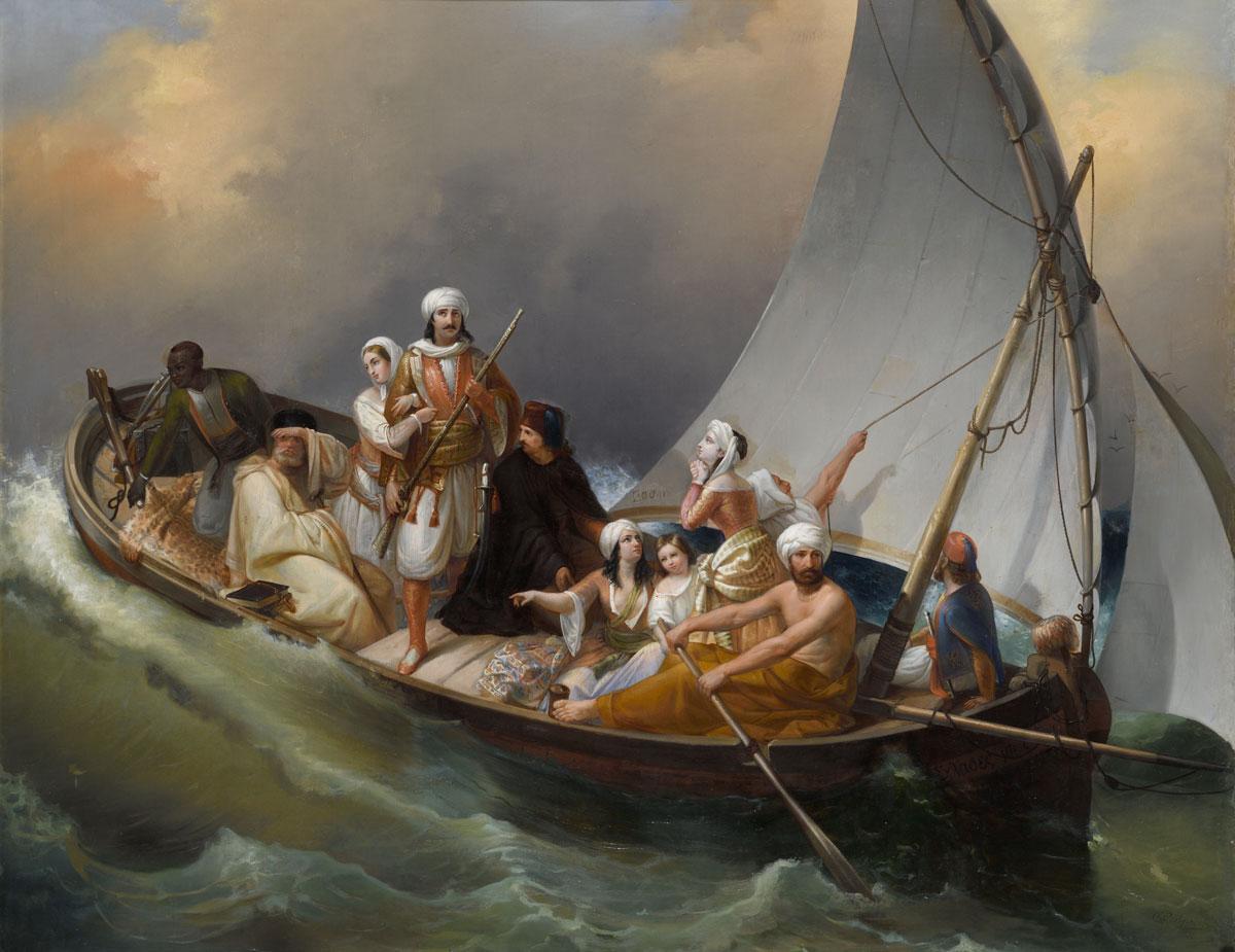 Carlo Belgioioso (1815-1881), Η φυγή των Ελλήνων από την Πάργα, 19ος αι., λάδι σε μουσαμά. Μουσείο Μπενάκη 8995.