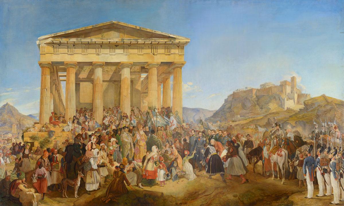 Νικόλαος Φερεκείδης (1862-1929) και μονόγραμμα G.W. [αντίγραφο έργου του Peter von Hess (1839)], Η υποδοχή του βασιλέα Όθωνα της Ελλάδος στην Αθήνα, 1901, λάδι σε μουσαμά, 200x340 εκ. Εθνική Τράπεζα.