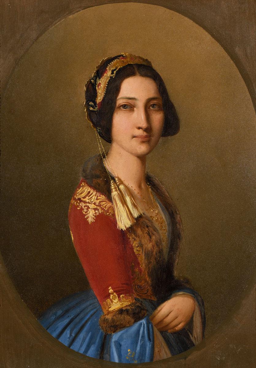 Σπυρίδων Προσαλέντης (1830-1895), Η Φωτεινή Μαυρομιχάλη με εθνική ενδυμασία, μέσα 19ου αι., λάδι σε καμβά, 32x25,5 εκ. Μουσείο Μπενάκη 9076, δωρεά Χρίστου Δαραλέξη.