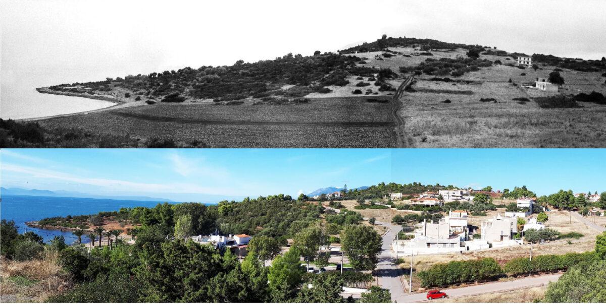 Εικ. 1. Άποψη του Βολεριού το 1986 (πάνω) και το 2019 (κάτω). Τα πελεκημένα λίθινα εργαλεία των εικόνων αρ. 8-10, διασώθηκαν από τους χώρους που κτίστηκαν, ασφαλτοστρώθηκαν ή μπαζώθηκαν (φωτ.: Γιώργος Μίχας).
