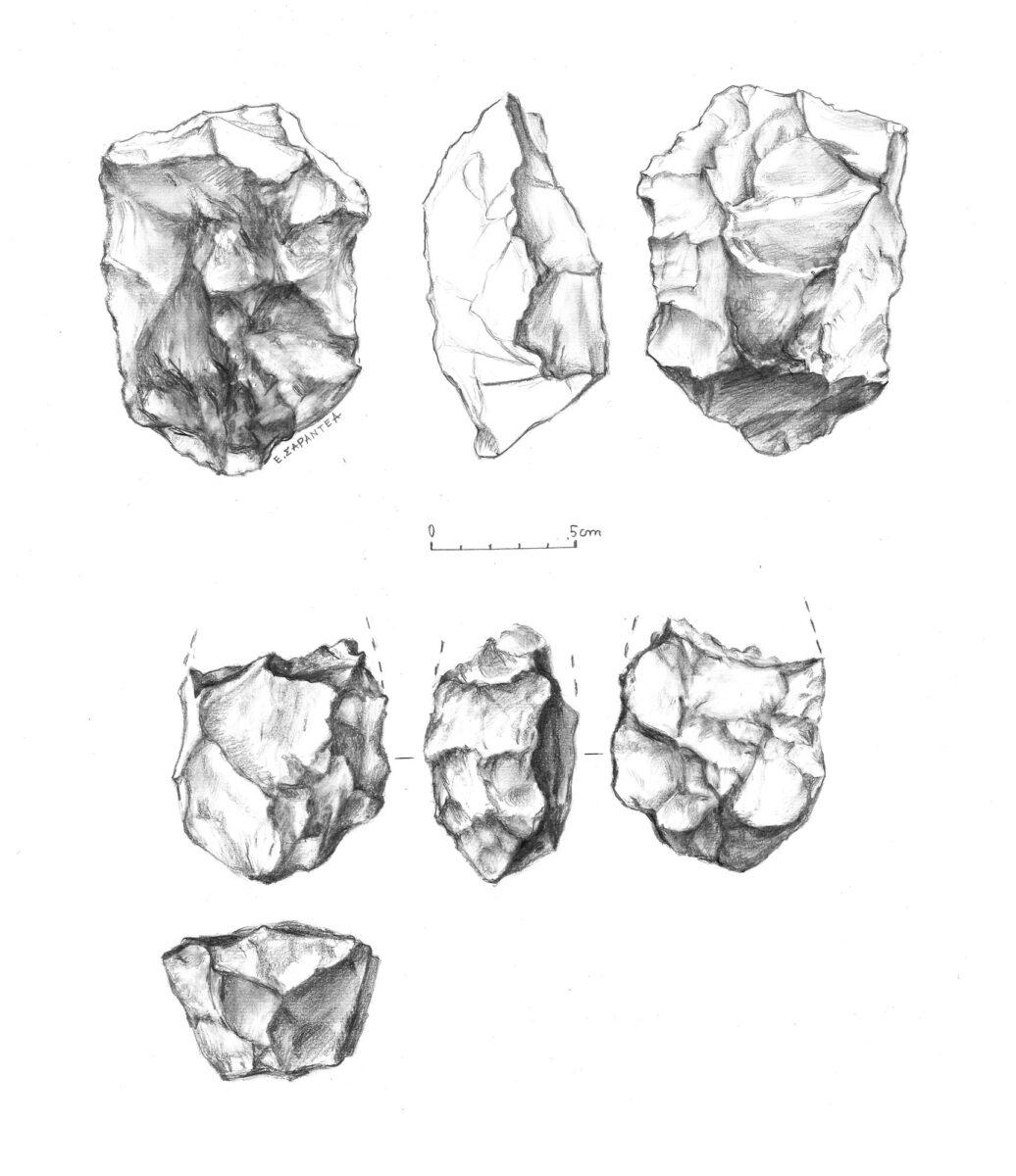 Εικ. 10. Επάνω, κοπέας (cleaver) μήκους 13 εκ., με βάση. Κάτω, θραύσμα δίπλευρου (biface), πλάτους 7 εκ. (μήκος εναπομείναντος κάτω τμήματος 9 εκ.). Από το νότιο Βολέρι (σχέδια: Ε. Σαραντέα-Μίχα).