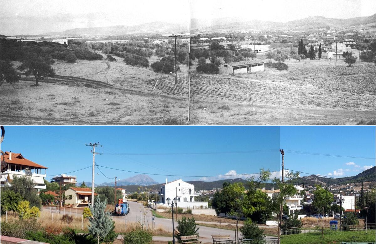 Εικ. 2. Αριστερά, άποψη του νότιου άκρου της θέσης κατασκευής εργαλείων (θέση «Μαντρί»), 400 μ. ΒΑ της εκκλησίας Φανερωμένης, τo 1986 (πάνω) και το 2019 (κάτω). Ο ασφαλτοστρωμένος δρόμος αριστερά, που οδηγεί στο βάθος, διανοίχθηκε στη θέση με τα πυκνότερα επιφανειακά τέχνεργα πυρήνων (cores και core tools), ορισμένα από τα οποία παρουσιάζονται στις εικόνες αρ. 5-7 (φωτ.: Γιώργος Μίχας).