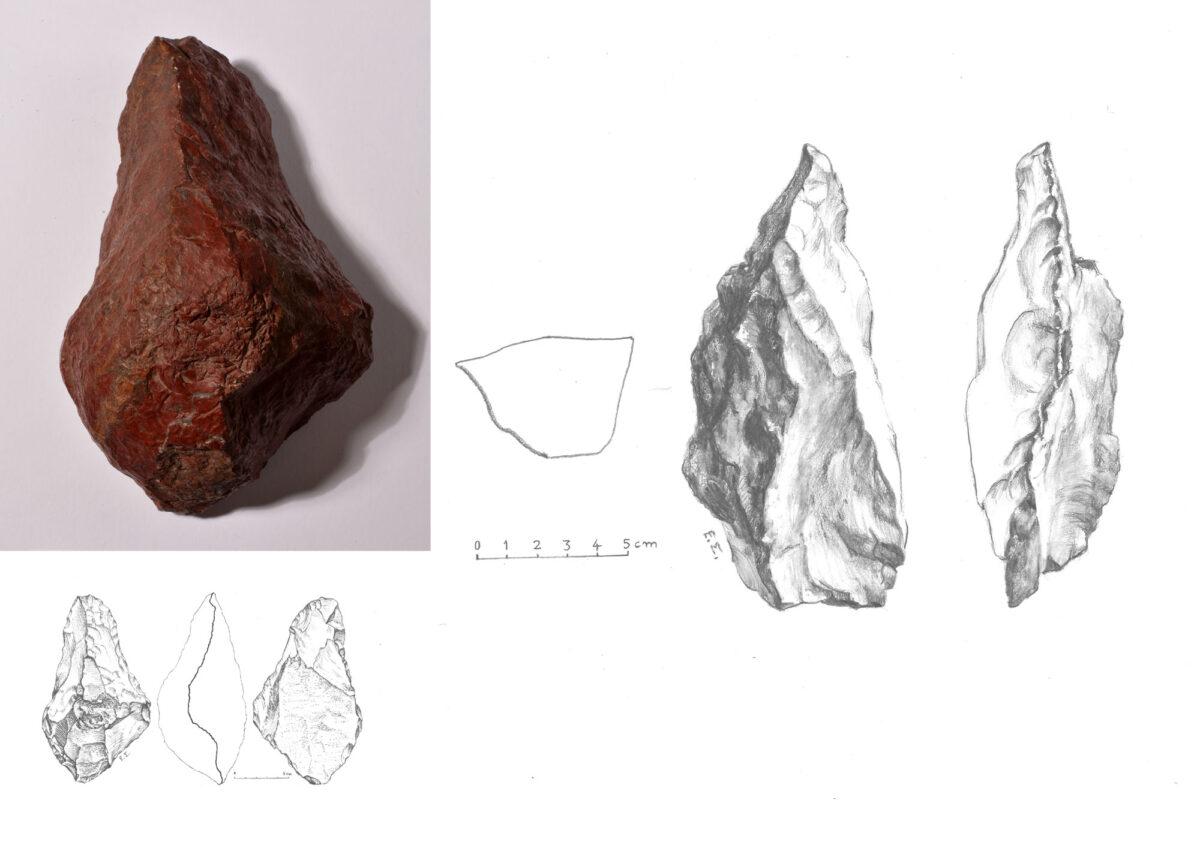 Εικ. 5. Αριστερά, χειροπέλεκυς-ράσπα (handaxe), μήκους 16 εκ., με κοίλες καμπυλώσεις πλευρών, ημισφαιροειδή λαβή και τομή 10x7 εκ. Δεξιά, σουβλί (pic), μήκους 16 εκ., με τον φλοιό του πετρώματος στη μια από τις τέσσερις πλευρές. Από τη Φανερωμένη, θέση «Μαντρί» (φωτ.: Βασ. Νίκας, σχέδιο: Ε. Σαραντέα-Μίχα).