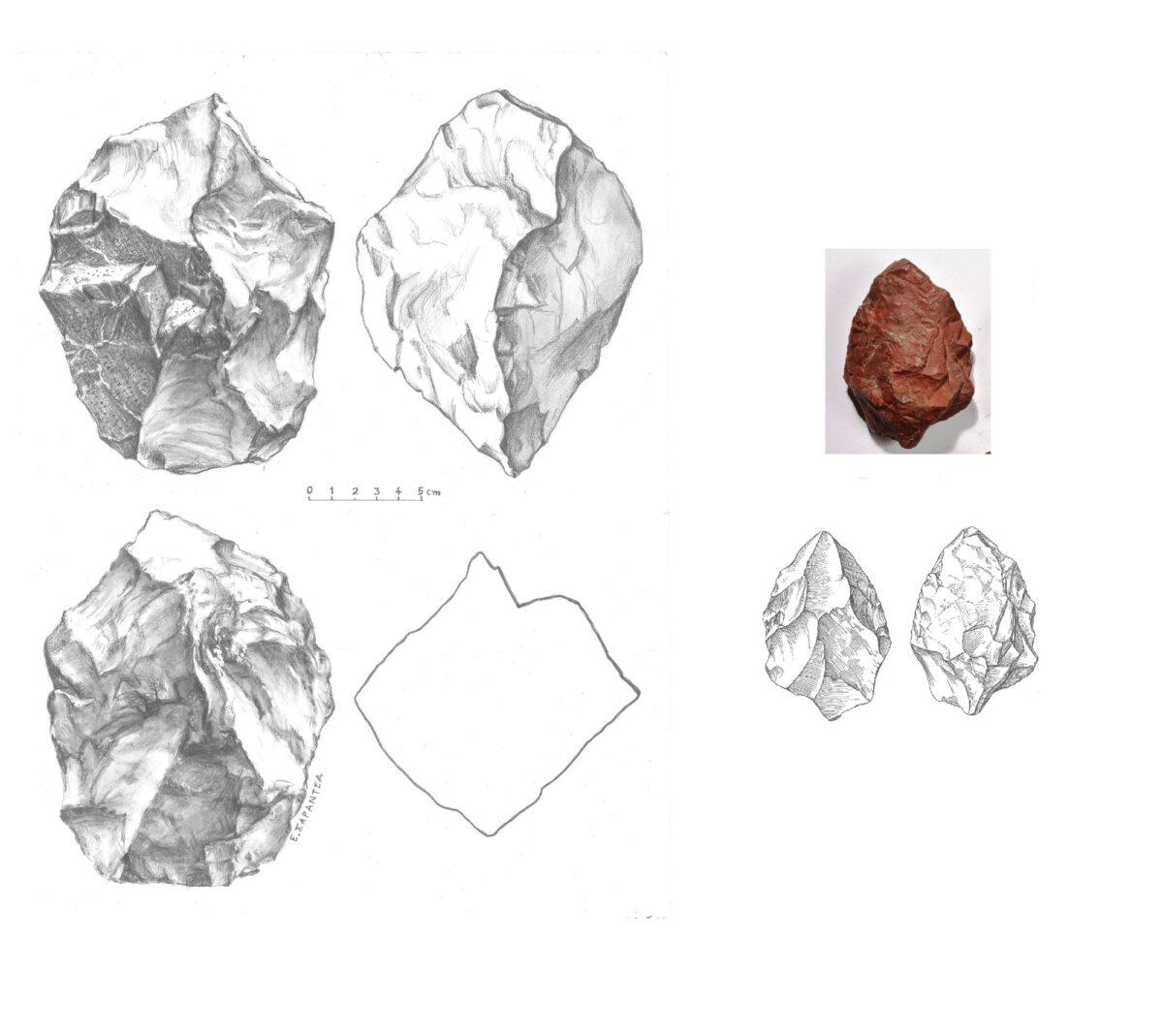 Εικ. 8. Αριστερά, ογκώδης χειροπέλεκυς (;) (handaxe;) μήκους 16,5 εκ., βάρους 2.360 γρ., με περίπου τετράγωνη τομή 13x12,5 εκ., κυματοειδή ακμή και τον φλοιό του πετρώματος στη μια όψη. Δεξιά, αμυγδαλόσχημος χειροπέλεκυς (handaxe) μήκους 9,2 εκ., πάχους 3,4 εκ. Από το νότιο Βολέρι (φωτ.: Βασ. Νίκας, σχέδια: Ε. Σαραντέα-Μίχα).