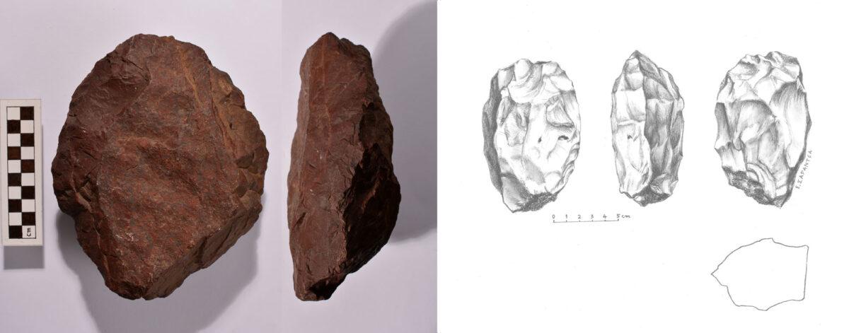 Εικ. 9. Αριστερά, ογκώδες λιάνιστρο διπλής όψης (chopping tool) διαστάσεων 19x15,5x8 εκ., βάρους 2.650 γρ., με τον φλοιό του πετρώματος στη μια όψη. Δεξιά, λιάνιστρο (chopper) από χαλαζία λευκορόδινου χρώματος, μήκους 12 εκ., με τον φλοιό του πετρώματος στη βάση. Από το Νότιο Βολέρι (φωτ.: Βασ. Νίκας, σχέδιο: Ε. Σαραντέα-Μίχα).