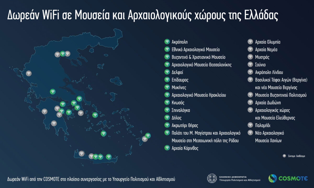 Η COSMOTE ήδη προσφέρει δωρεάν ασύρματες ευρυζωνικές υπηρεσίες σε δεκατρείς χώρους πολιτιστικού ενδιαφέροντος (φωτ.: ΥΠΠΟΑ).