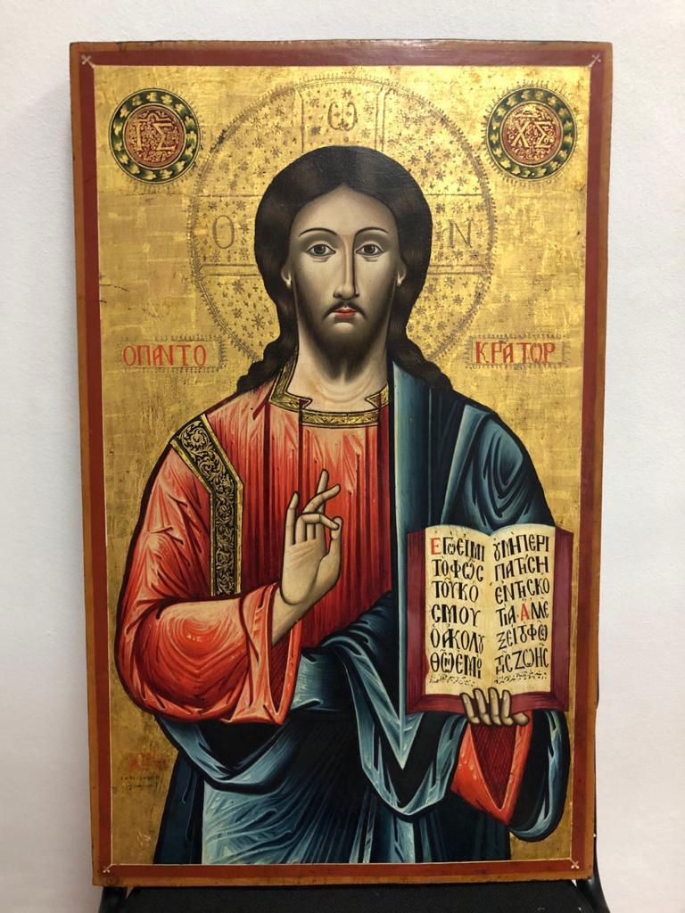Η εικόνα του Χριστού Παντοκράτορα που είχε κλαπεί από την Ιερά Μονή Αγίας Τριάδας στην Οξυά Καρδίτσας (φωτ.: ΥΠΠΟΑ).
