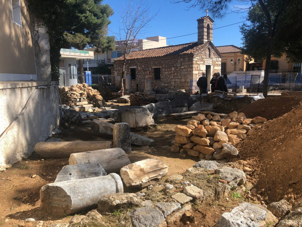Ο ναός του Αγίου Ζαχαρία στον αρχαιολογικό χώρο της Ελευσίνας (φωτ.: ΥΠΠΟΑ).