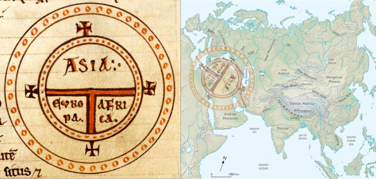 Ο μεσαιωνικός στερεότυπος συμβολικός χάρτης Τ του Ισιδώρου της Σεβίλλης και η προσαρμογή του στον χάρτη της Ευρασίας. Ο Εύξεινος Πόντος και η Ερυθρά θάλασσα είναι τα κλειδιά της εισόδου της Ευρασίας στη Μεσόγειο (φωτ.: ΑΠΕ-ΜΠΕ /Ευάγγελος Λιβιεράτος).