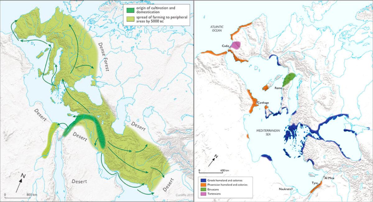 Αριστερά: Ο Εύξεινος Πόντος είναι η μόνη θάλασσα μέχρι το 5000 π.Χ. που περιβάλλεται κατά το σύνολο της ακτογραμμής της από ζώνη γεωργίας και οικόσιτων ζώων. Δεξιά: Η μεγαλύτερη ακτογραμμή της ελληνικής επέκτασης σημειώνεται στον Εύξεινο Πόντο μεταξύ 900-500 π.Χ. Πηγή: Β. Cunliffe, Οξφόρδη (φωτ.: ΑΠΕ-ΜΠΕ /Ευάγγελος Λιβιεράτος).
